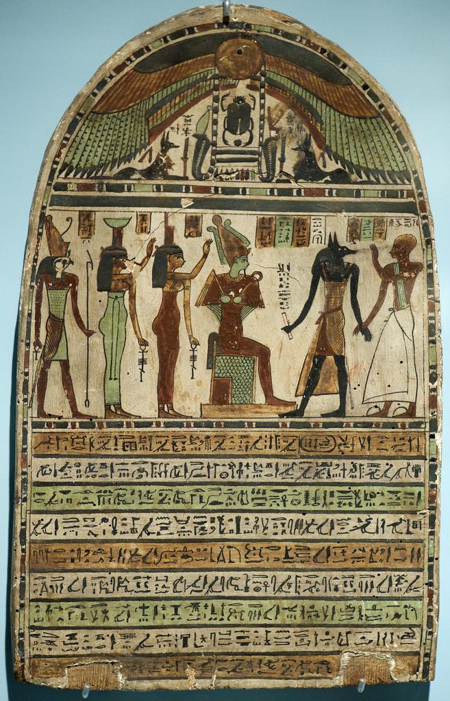 Fotografía cortesía de: Rob Koopman https://www.flickr.com/photos/koopmanrob/3969485182/ Estela con el Dios de los Muertos, Osiris y el can Anubis